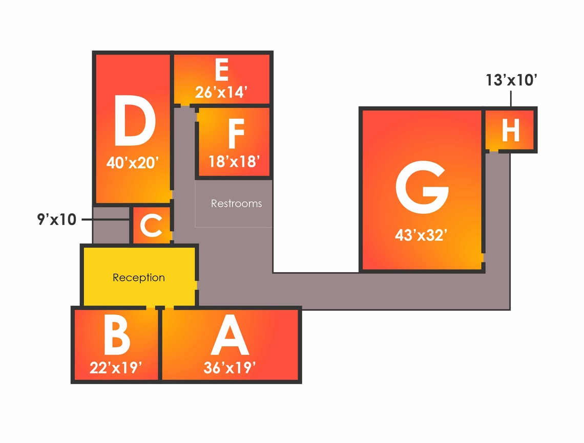Layout of Rehearsal Studios at Sunlight Studios in NYC